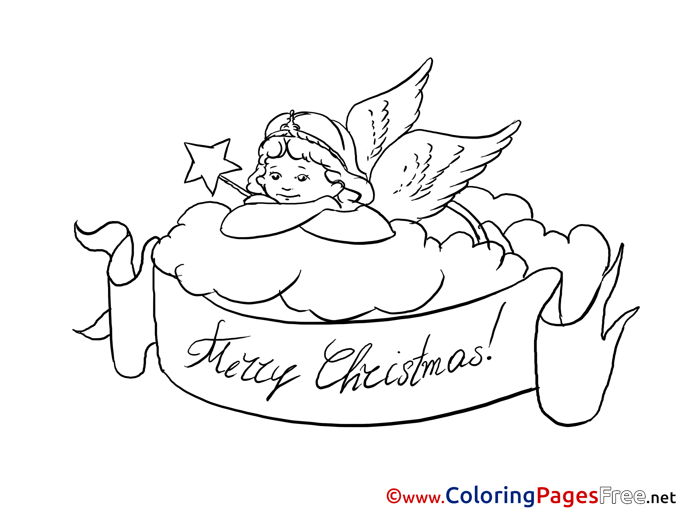 Coloring pages of merry christmas