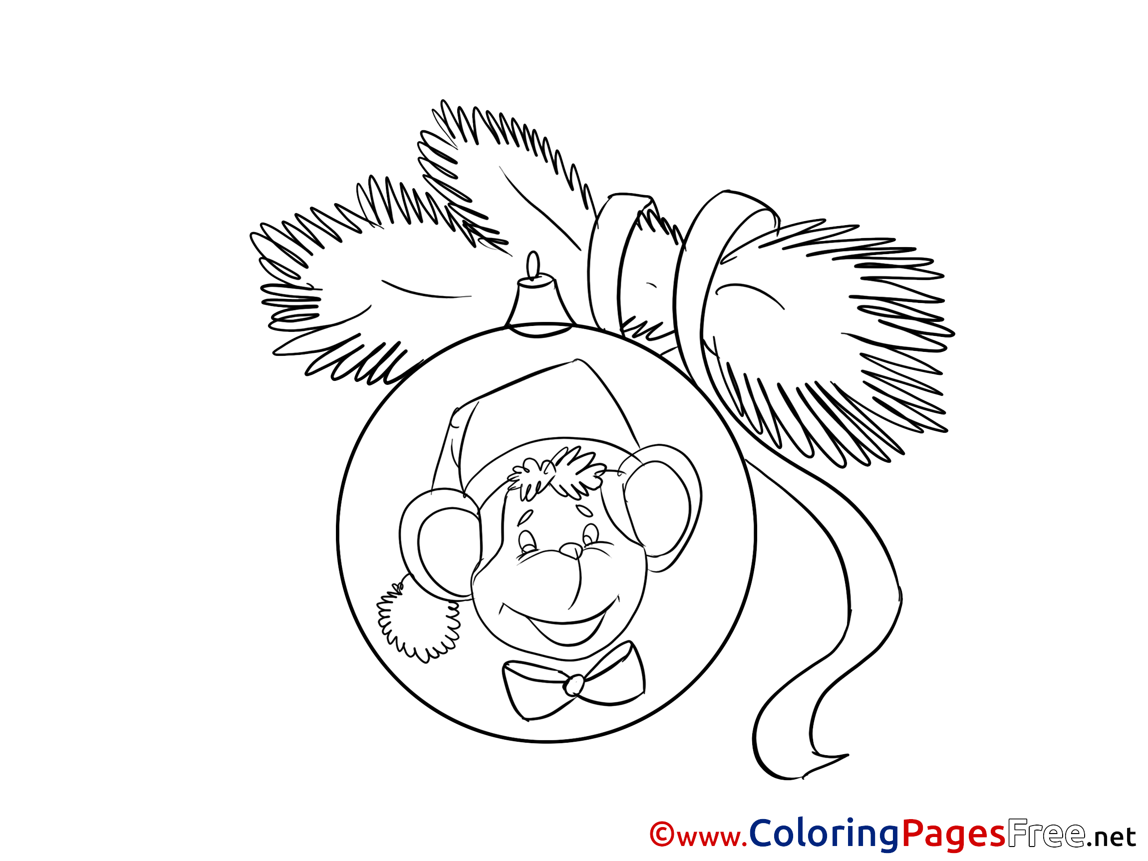 monkey christmas coloring pages - photo#21