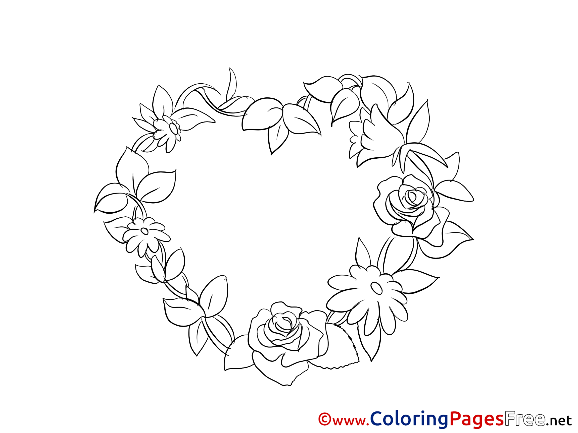 rose garland coloring pages - photo#18