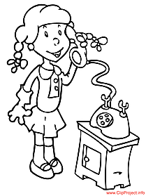 Color sheet girl speaking phone