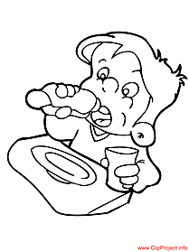 Boy coloring page  food