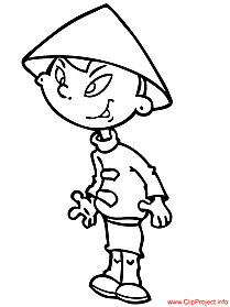 Cartoon kid coloring sheet