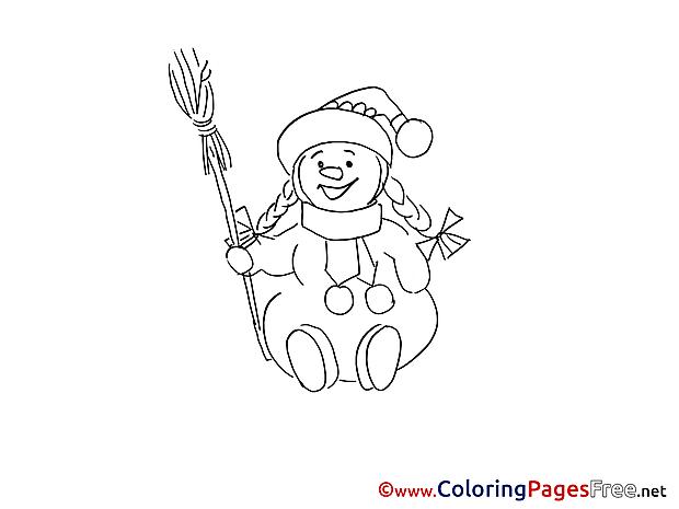 Broom Snowman printable Advent Coloring Sheets
