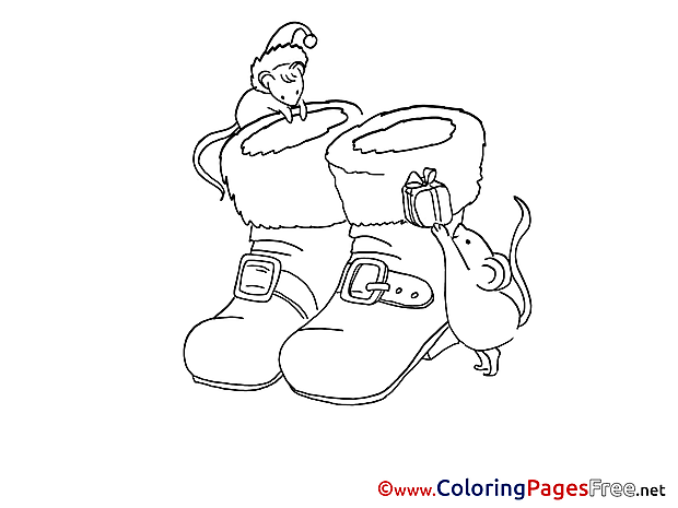 Mouse Boot Advent Coloring Pages download