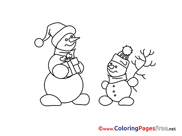 Snowman Colouring Sheet download Advent