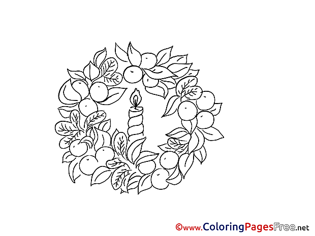 Wreath Colouring Sheet download Advent