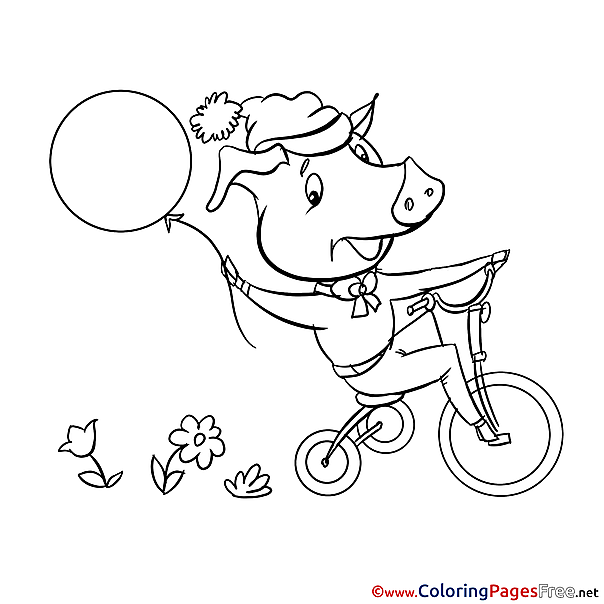 Children Pig download Colouring Page