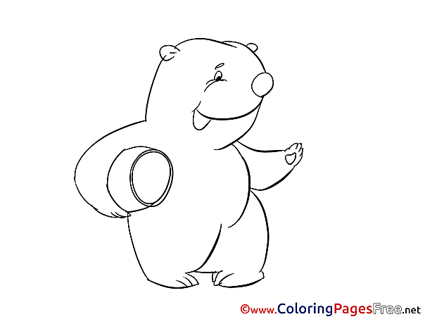 Honey Colouring Page printable free