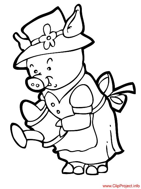 Pig cartoon colorig page