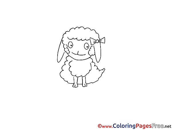 Sheep for Kids printable Colouring Page