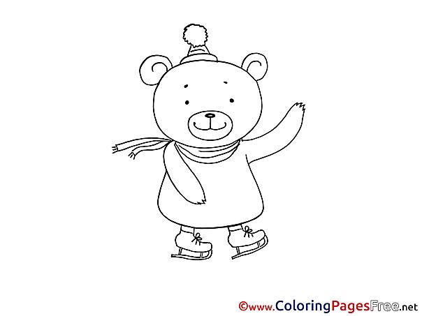 Skates Bear printable Coloring Sheets download