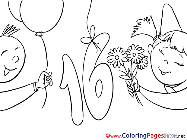 16 Years download Birthday Coloring Pages