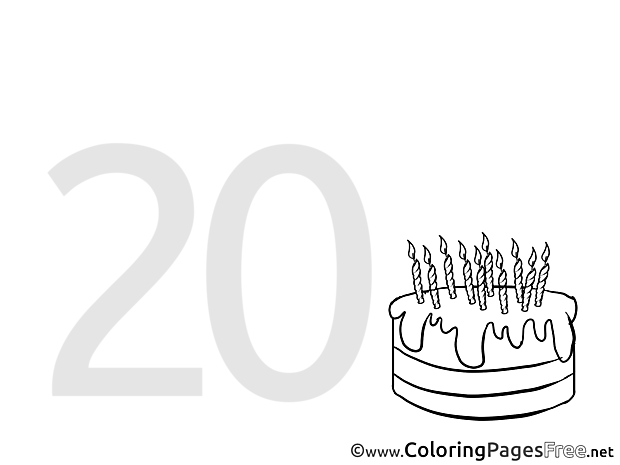 20 Years Birthday Coloring Pages download