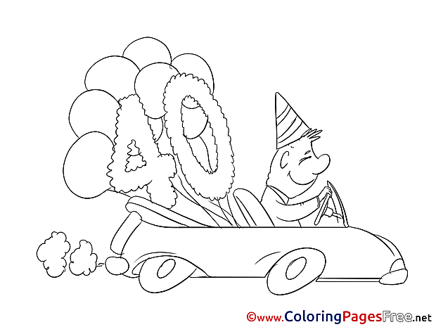 40 Years free Colouring Page Birthday