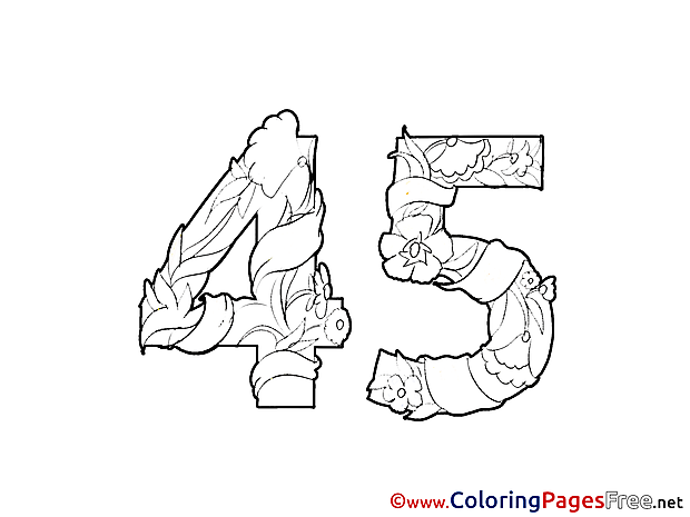 45 Years Kids Birthday Coloring Pages