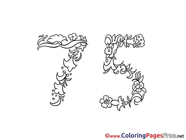 75 Years Coloring Pages Birthday