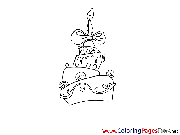 Cake free Colouring Page Birthday