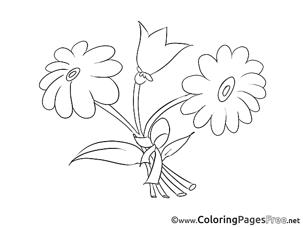 Flowers Kids Birthday Coloring Pages