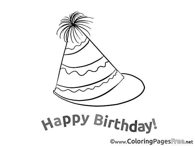 Hat Party printable Coloring Pages Birthday