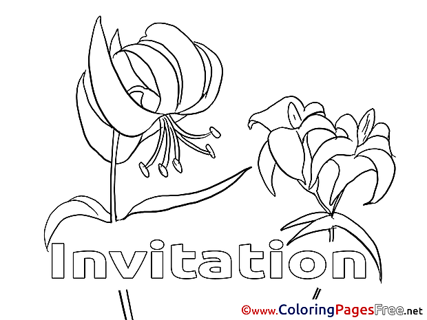 Invitation free Colouring Page Birthday