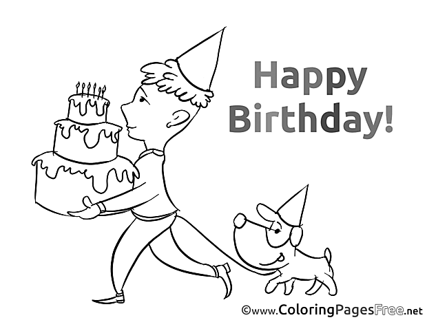 Party Colouring Sheet download Birthday