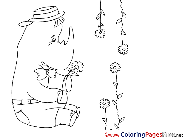 Rhino Birthday Coloring Pages download