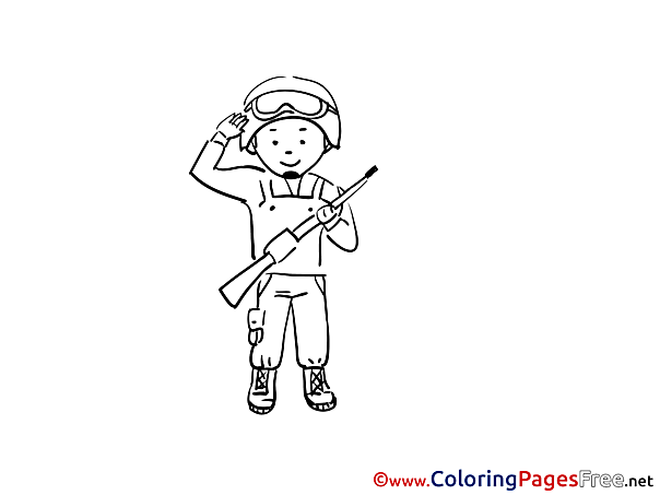 Soldier for Kids printable Colouring Page