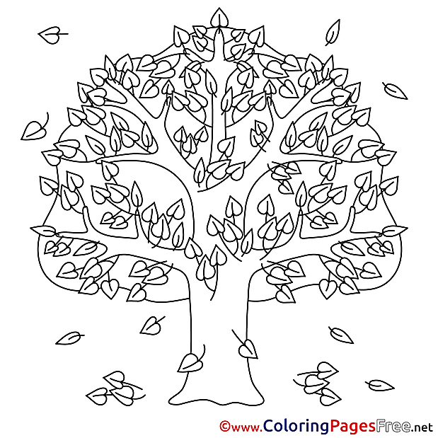 Autumn Tree free Colouring Page download