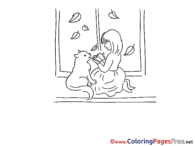 Cat Girl Colouring Sheet download free