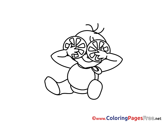 Oranges Children download Colouring Page