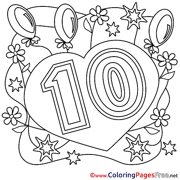 10 Years Congratulation Colouring Sheet Happy Birthday