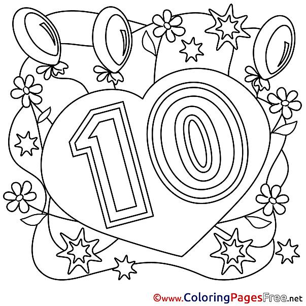 10 Years Congratulation Colouring Sheet Happy Birthday