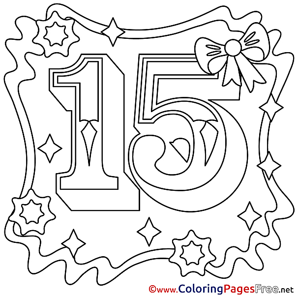 15 Years Kids Happy Birthday Coloring Page