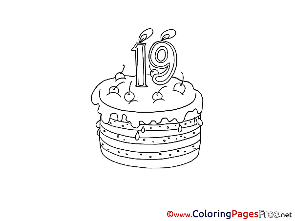 19 Years Cake printable Happy Birthday Coloring Sheets
