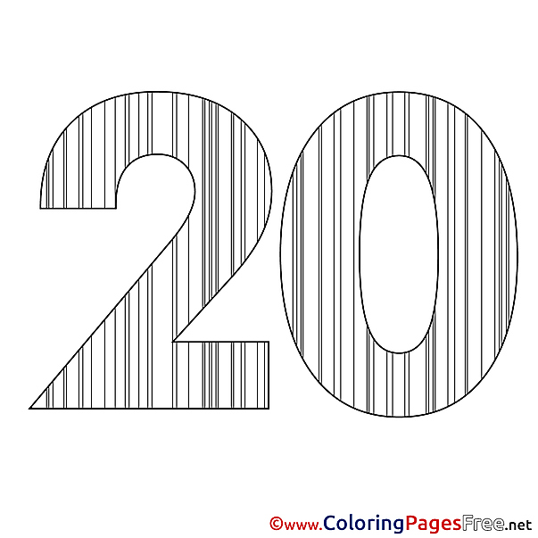 20 Years printable Happy Birthday Coloring Sheets