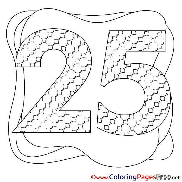 25 Years Happy Birthday Colouring Sheet free