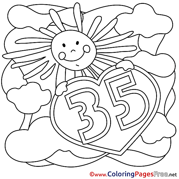 35 Years Sun printable Coloring Pages Happy Birthday