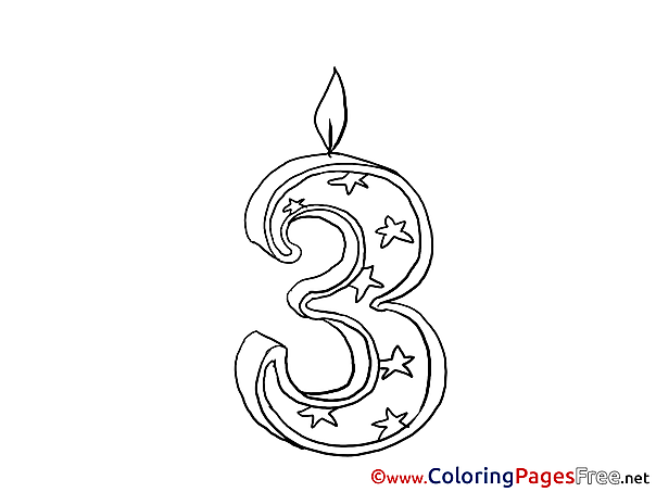 3 Years Candle Happy Birthday free Coloring Pages