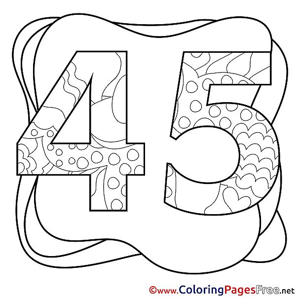 45 Years printable Coloring Pages Happy Birthday