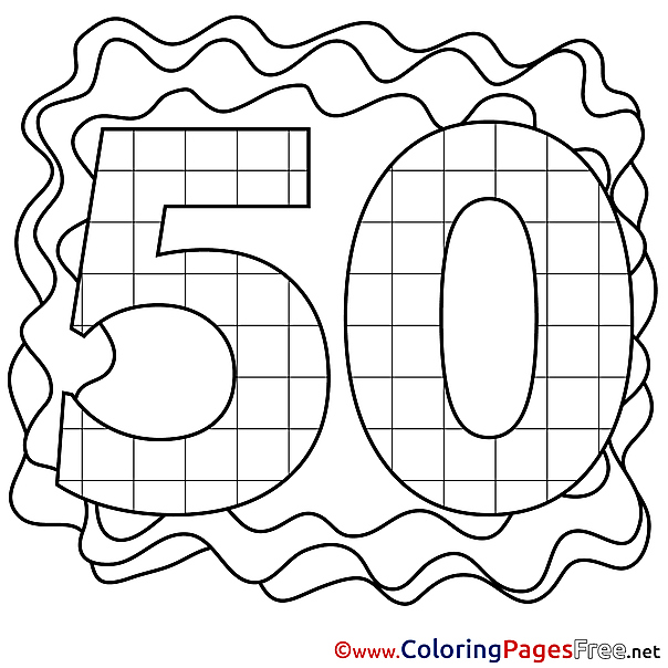50 Years free Colouring Page Happy Birthday