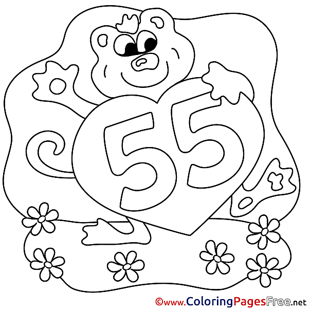 55 Years Happy Birthday Colouring Sheet free