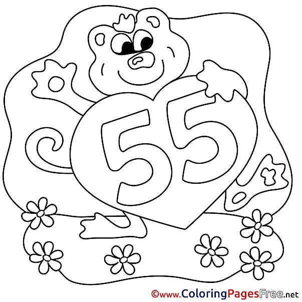 55 Years Happy Birthday Colouring Sheet free