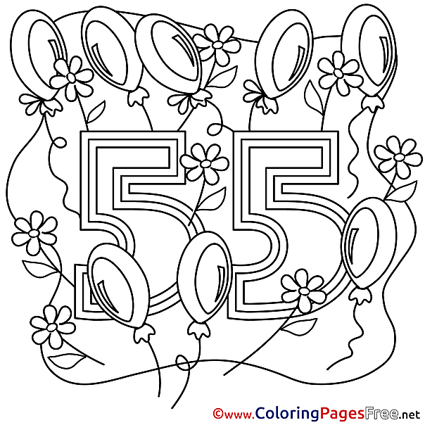 55 Years Happy Birthday free Coloring Pages