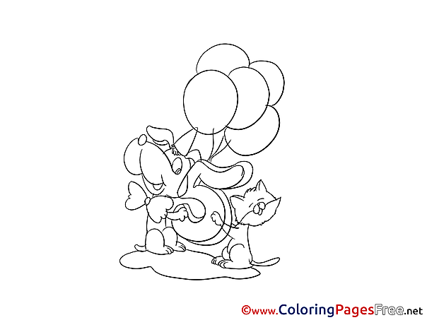 5 Years Pets free Colouring Page Happy Birthday