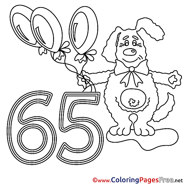 65 Years Dog Happy Birthday free Coloring Pages