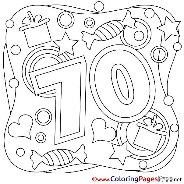 70 Years Happy Birthday Coloring Pages free