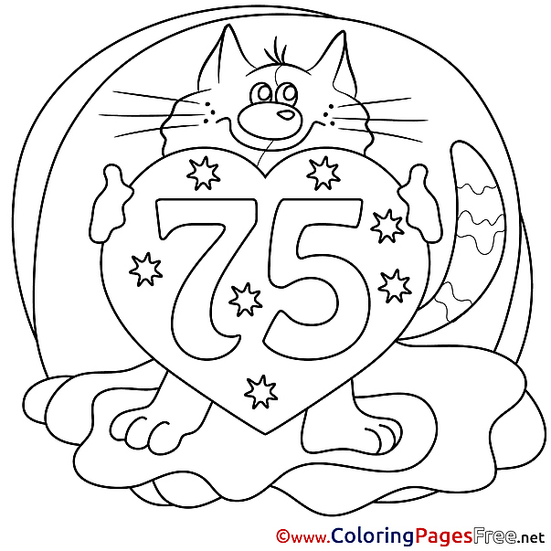 75 Years Cat Coloring Pages Happy Birthday for free
