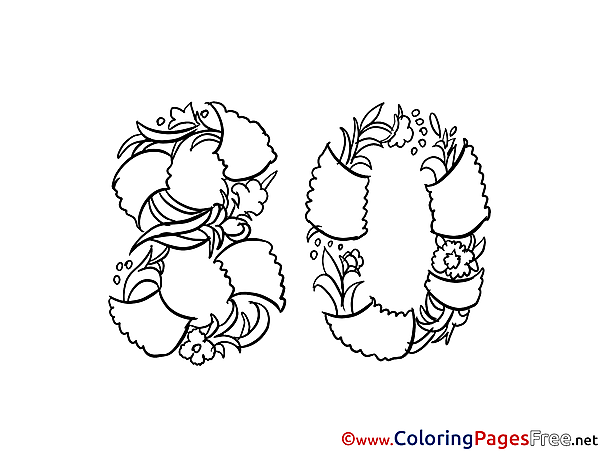 80 Years Flowers printable Coloring Pages Happy Birthday