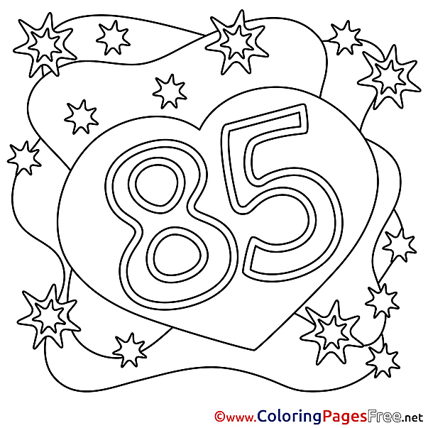 85 Years Happy Birthday Coloring Pages free