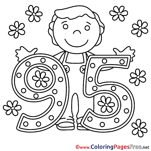 95 Years Flowers download Happy Birthday Coloring Pages